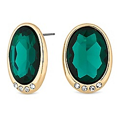 Principles Green Crystal Oval Stud Earring