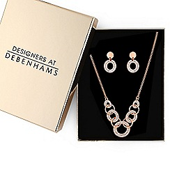Principles - Rose gold crystal pave link jewellery set