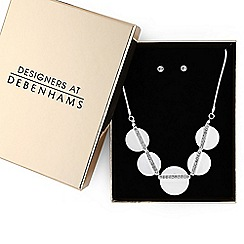 Principles - Silver crystal disc jewellery set