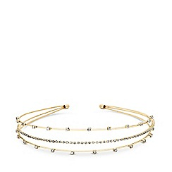 Principles - Gold plated clear glass 3 row crystal headband hair