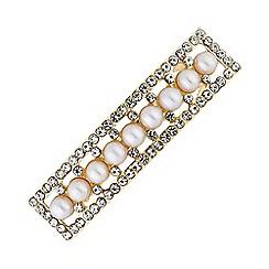 Principles - Gold plated cream pearl barette pin/clip hair