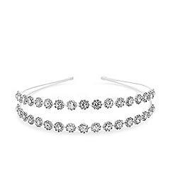 Principles - Silver plated clear glass double row pretty crystal headband hair