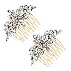 Principles - Gold crystal floral hair comb set