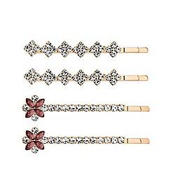 Principles - Rose gold plated blue crystal 4 pack floral slide hair