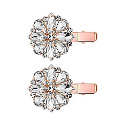Principles - Rose gold plated clear glass 2 pack pin/clip hair