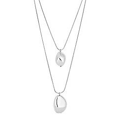 Principles - Pebble multi row silver necklace