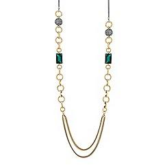 Principles - Gold green crystal link long necklace