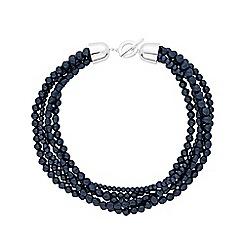 Principles - 3 Row Mixed Navy Pearl T Bar Necklace