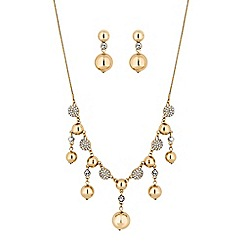 Principles - Gold crystal pave orb jewellery set