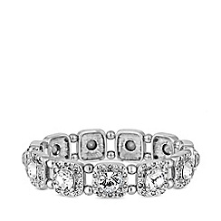 Principles - Silver Plated Clear Glass Square Clara Crystal Stretch Bracelet