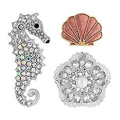 Red Herring - Crystal seahorse brooch set
