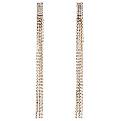Red Herring - Rose gold diamante drop earrings