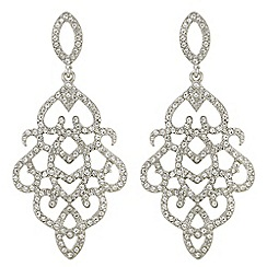 Red Herring - Silver crystal ornate chandelier earrings
