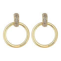 Red Herring - Gold crystal hoop drop earrings