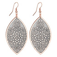 Red Herring - Glitter filigree leaf earrings