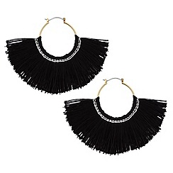 Red Herring - Jet fringed hoop earrings