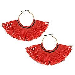 Red Herring - Orange fringed hoop earrings