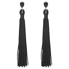 Red Herring - Black tassel drop earrings