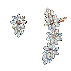 Red Herring - Crystal floral ear cuff set