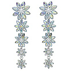 Red Herring - Graduated floral crystal earrings