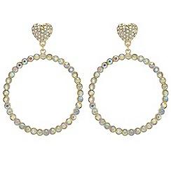 Red Herring - Crystal heart pave hoop earrings