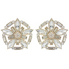 Red Herring - Oversized crystal flower earrings