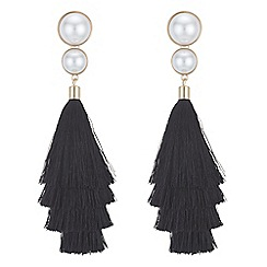 Red Herring - Monochrome pearl tassel earrings