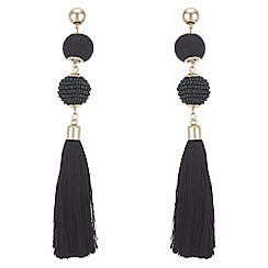 Red Herring - Beaded orb tassel drop earrings