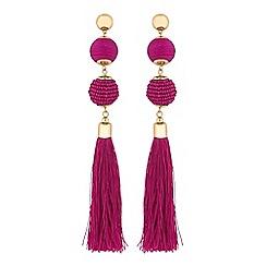 Red Herring - Beaded tassel drop earrings