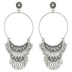 Red Herring - Beaded hoop drop earrings