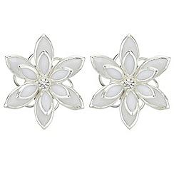 Red Herring - Crystal flower stud earrings