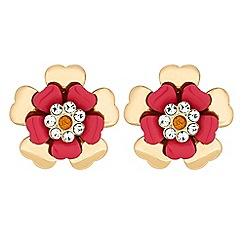 Red Herring - Crystal flower earrings