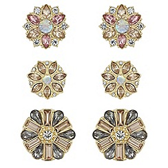 Red Herring - Crystal floral earrings set
