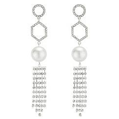 Red Herring - Geometric pearl drop earrings
