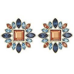 Red Herring - Coral crystal burst earrings