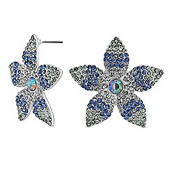 Red Herring - Blue ombre large flower stud earring