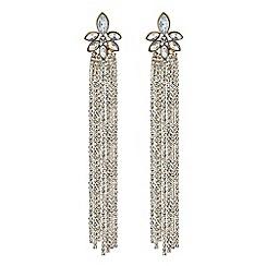 Red Herring - Gold diamante tassel statement drop earrings