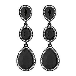 Red Herring - Black crystal peardrop earrings