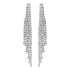 Red Herring - Silver diamante long statement earrings