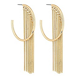 Red Herring - Gold chain tassel hoop earrings