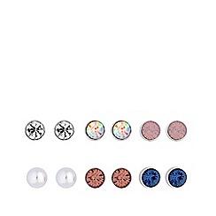 Red Herring - Silver plated multi-coloured 6 pack stud earrings