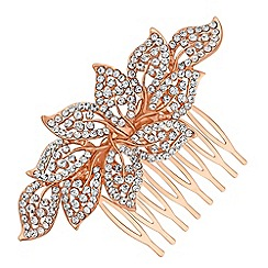 Red Herring - Crystal leaf hair comb