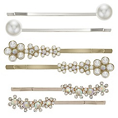 Red Herring - Floral pearl hair slide set