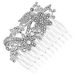 Red Herring - Silver crystal floral hair comb