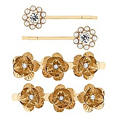 Red Herring - Gold crystal and pearl floral hair slide set