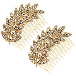 Red Herring - Gold crystal feather hair comb set