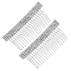 Red Herring - Silver crystal hair comb set