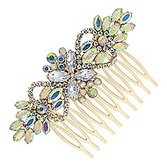 Red Herring - Gold rainbow crystal hair comb