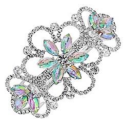 Red Herring - Silver aurora borealis crystal flower hair clip