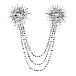 Red Herring - Silver crystal starburst draped double hair comb